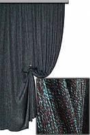 Ткань для штор мешковина бирюза+коричневый Мешковина № L513,  Турция