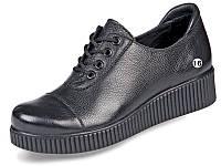 Туфли женские кожаные на невысокой танкетке МИДА 21578 черные.