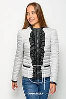 Женская укороченная стеганная куртка из плащевки 17303 серая 40-50 размеры