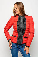 Женская укороченная стеганная куртка из плащевки 17303 красная 40-50 размеры