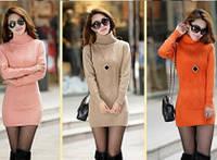 Свитер кофта пуловер платье теплое вязаное зима