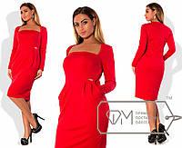 Стильное женское платье  с глубоким вырезом декольте размер 48-54