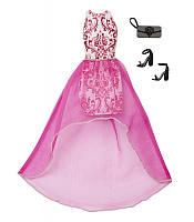 Набор одежды для куклы Барби белое платье с розовым принтом и вуалью