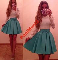 Платье Куколка Комбинация гипюр + трикотаж