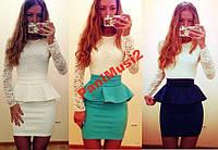 Модное платье футляр трикотаж гипюр с баской №140