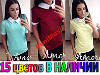 Майка футболка Туника блузка рубашка с воротником №48