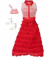 Комплект одежды для куклы Барби Красное платье с аксессуарами