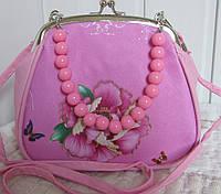 Сумочка для девочки «Поцелуйчик» с розой, бусики сьмные