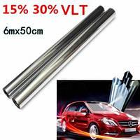 15% 30% 6mx50cm LVT автомобиль авто оконное стекло Пленка для тонирования тонировка рулон серебряное зеркало