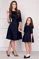 Набор платье мама и дочка с бантом на поясе