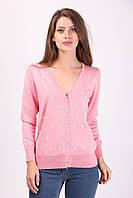 Стильная женская кофточка на пуговицах нежно-розового цвета