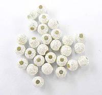 Бусины круглые напыление звездная пыль серебро.925