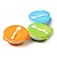 Тарелка + ложка для малышей Baby Mix FU/9859 (голубой, зеленый, оранжевый)