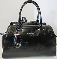 Чёрная женская сумка из натуральной кожи и замша  Velina Fabbiano