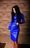 Платье электрик из эко-кожи