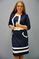 Лаура с болеро. Платье больших размеров. Синий с белым., фото 1