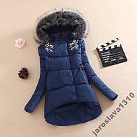 Теплая куртка пуховик с камнями зима