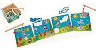 """Рыбалка пазлы """"Водный мир"""" (2 удочки) Деревянные развивающие игрушки"""