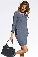 Женское осеннее платье синего цвета в молодежном стиле. Модель 220039 Enny, коллекция осень-зима 2016-2017.