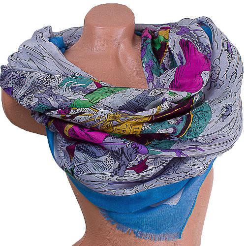 Качественный женский шарф из хлопка 182 на 86 см  ETERNO (ЭТЕРНО) ES0908-1-4 разноцветный