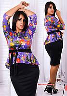 Женский костюм с юбкой и баской на кофте большого размера