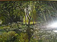 Картина холст масло пейзаж поляна лес  под стеклом