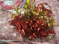 Упаковка бант цветок БАНТИК ФОЛЬГА золотой красный