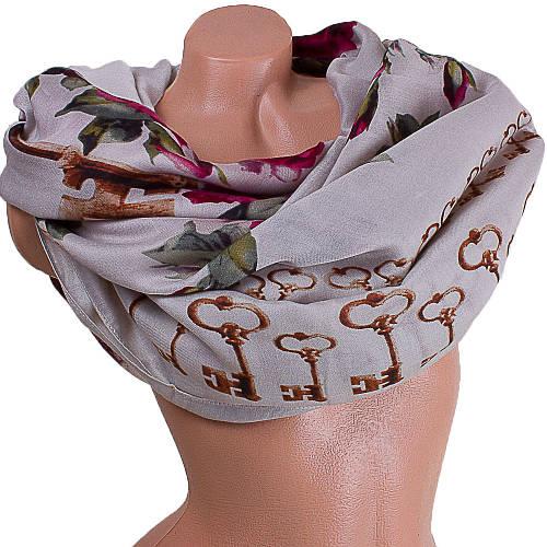 Оригинальный женский шарф из хлопка 182 на 87 см  ETERNO (ЭТЕРНО) ES0908-3-1 бежевый