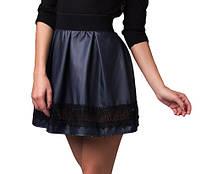 Женская юбка кожаная+ кружево р.  s-M т.синяя