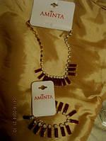 Колье ожерелье бусы цепь браслет набор