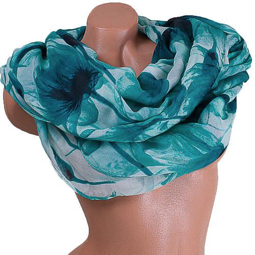 Красочный женский шарф из хлопка 183 на 86 см  ETERNO (ЭТЕРНО) ES0908-12-2 зеленый