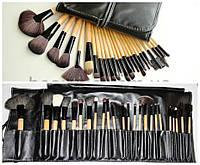 Набор кистей для макияжа 24 штуки без логотипа ручки дерево