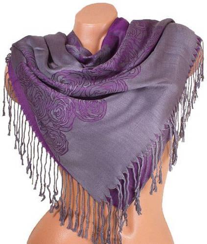 Потрясающий женский двусторонний палантин из пашмины 179 на 69 см ETERNO ES0406-10-16 фиолетовый