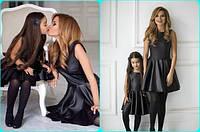 Набор мама и дочка короткое платье без рукавов с пышной юбкой