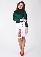 Нарядная юбка с большими вышитыми маками