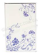 Тонкая металичесская визитница для своих визиток с рисунком art.цветки на белом фоне