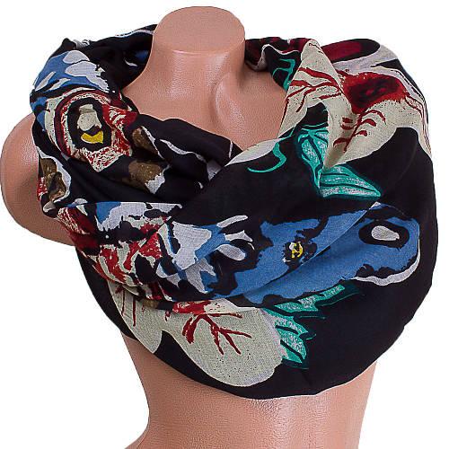 Изысканный женский шарф из хлопка 184 на 88 см  ETERNO (ЭТЕРНО) ES0908-2-2 черный