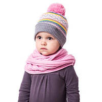 Детская вязаная шапка на девочку в полоску с орнаментом