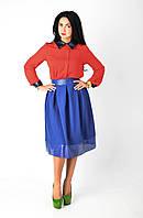 Нарядная юбка низ из гафрированной экокожи, фото 1