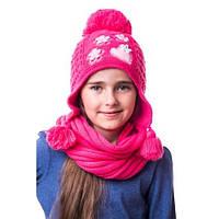 Детская вязаная шапка на девочку сердечки с цветами