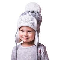 Детская вязаная шапка ушанка на девочку снежинки