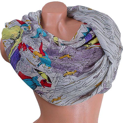 Интересный женский шарф из хлопка 185 на 87 см  ETERNO (ЭТЕРНО) ES0908-1-5 разноцветный