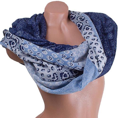 Приятный женский шарф из хлопка 185 на 89 см  ETERNO (ЭТЕРНО) ES0908-7-2 голубой