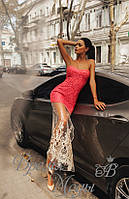 4409 - Изысканное коралловое платье, сбоку разрез на фатине.