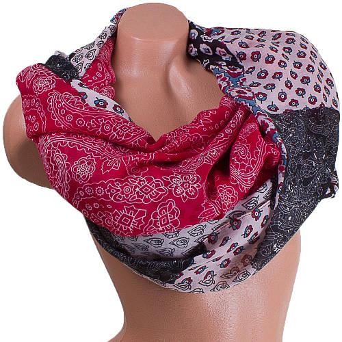 Интересный женский шарф из хлопка 186 на 90 см  ETERNO (ЭТЕРНО) ES0908-7-3 красный