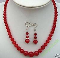 Рубиновые бусы + серьги индийские рубины 6 - 14 мм