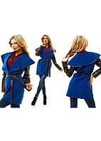 Женское Тренч пальто рукав эко-кожа р. S.M.L электрик