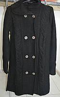 Теплый вязанный кардиган с капюшоном- черный