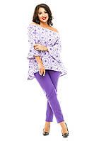 Женский брючный костюм с кофтой-туникой батального размера