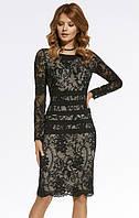 Женское гипюровое платье-футляр черного цвета. Модель 220042 Enny, коллекция осень-зима 2016-2017.